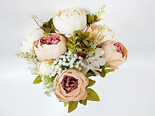 Artificial Fake Flowers Vintage Bouquets Silk Peony Flower for Wedding Home Decoration,Pack of 1(Light Pink)