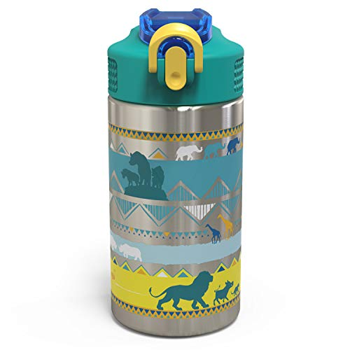 Zak Designs The Lion King - Stainless Steel Water Bottle with One Hand Operation Action Lid and Built-in Carrying Loop, Kids Water Bottle with Straw Spout is Perfect for Kids -