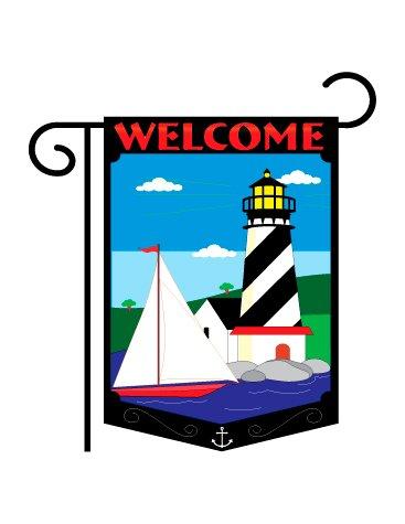 Lighthouse Appliqued - Welcome Lighthouse Garden Flag Indoor/outdoor 13.5