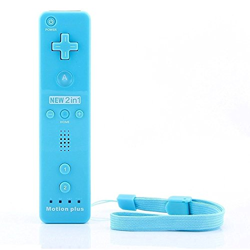 Built in Motion Plus Remote and Nunchuck Controller+Case for Nintendo Wii&Wii U (blue)