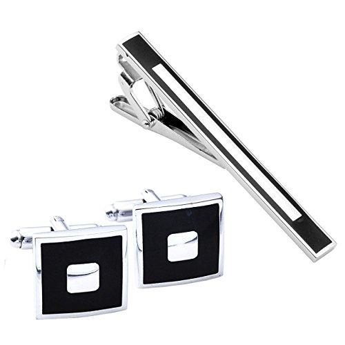 Zysta Men Tie Clip + Cufflinks Set - Stainless Steel Gentleman Formal Dress Necktie Bar Cuff Links ()
