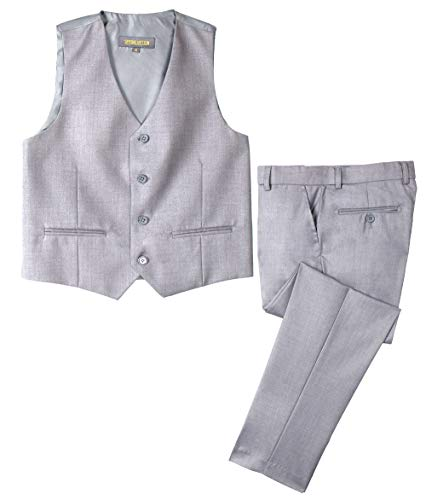 Spring Notion Big Boys' Two-Button Suit Light Grey 05 Vest and Pants