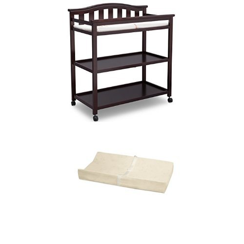 Delta Children Bell Top Changing Table with Casters, Dark Chocolate and Simmons Kids Beautysleep Naturally Contour Pad by Simmons Kids