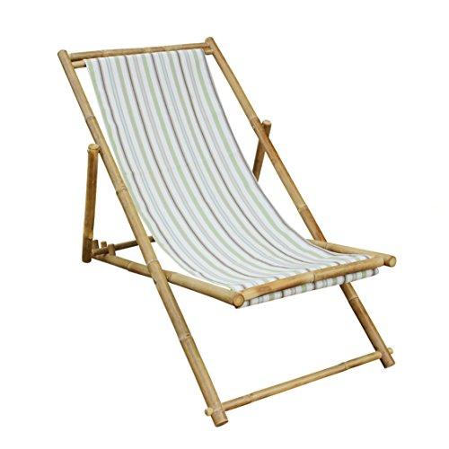 Zew Bamboo Adjustable, Foldable, Handcrafted Lawn Sling Recliner Chair With Canvas , White Stripe (Canvas Reclining Recliner)