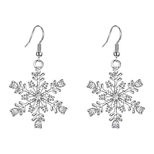 EVER FAITH Silver-Tone Austrian Crystal Winter Party Snowflake Pierced Hook Dangle Earrings