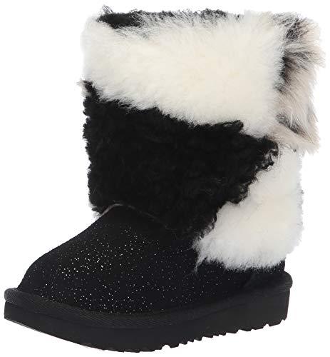 UGG Girls' T Classic Short Patchwork Fluff Fashion Boot, Black, 12 M US Little Kid ()