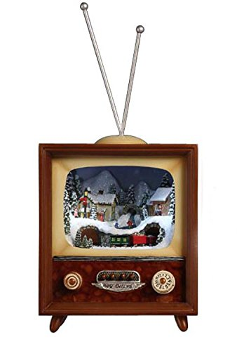 Pack of 2 Icy Crystal Illuminated Musical Christmas TV Box Figurines 10'' by CC Christmas Decor