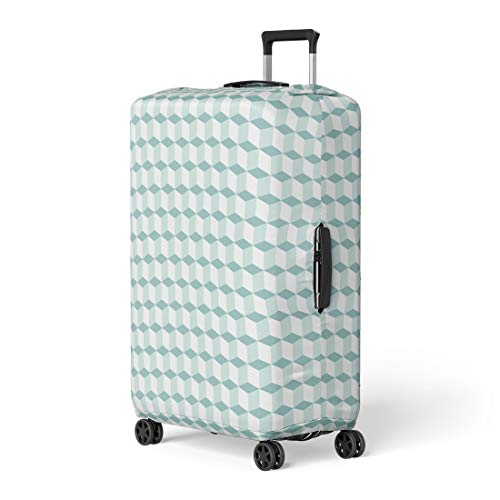 - Pinbeam Luggage Cover Geometric Mint Green Pattern Cubes in Op Bold Travel Suitcase Cover Protector Baggage Case Fits 18-22 inches