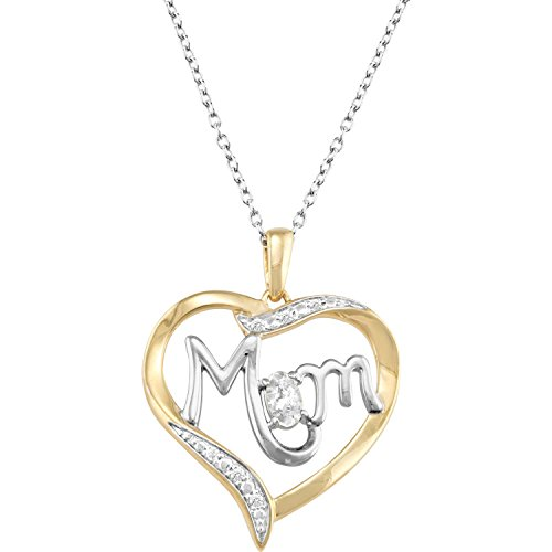 (ArtCarved Mom's Love Simulated White Spinel Birthstone 10k Yellow Gold Over Silver Pendant Necklace, 18)