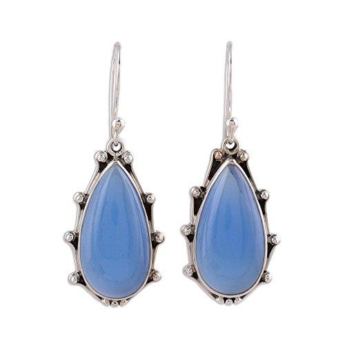 NOVICA Chalcedony .925 Sterling Silver Dangle Earrings 'Peaceful Blues' (Chalcedony Dangle Blue)