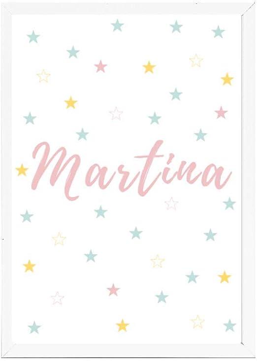 Lámina infantil 21x30 personalizada con el nombre de MARTINA ideal decoración habitación, regalo nacimiento, bautizo. -Stars- Se envía desde España: Amazon.es: Hogar