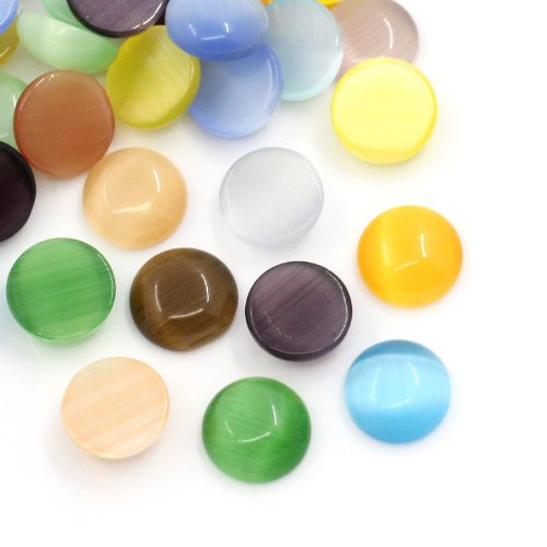 Housweety 100 Pcs Cat's Eye Glass Dome Cabochons Round Mixed 8mm(3/8