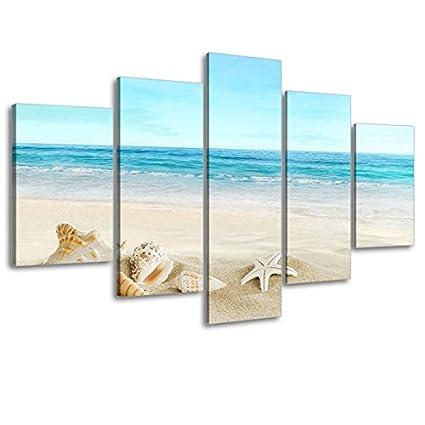 Amazon.com: Beach Theme Picture Decor for Bathroom, SZ 5 Piece Ocean ...
