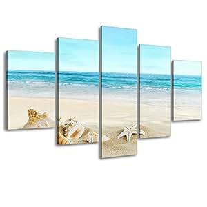 Beach theme picture decor for bathroom sz 5 for Bathroom paintings amazon