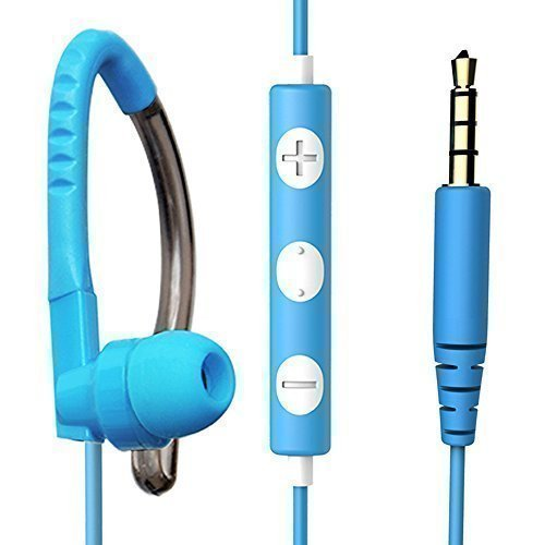 MAXROCK (TM) 3.5mm Jack Stereo Sport Overear Headphones with Microphone and Volume Remote Control for Cellphones, Tablets.(Blue)