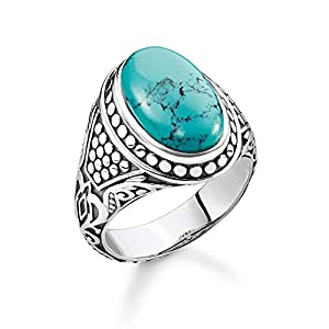 Thomas Sabo Unisex Ring Turquoise 925 Sterling Silver, Blackened TR2241-878-17