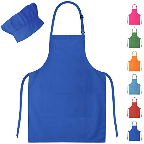 - Blue Kids Apron & Chef Hat for Boys & Girls Ages 4-10