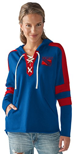 Touch by Alyssa Milano NHL New York Rangers Women's Blue Line Hoodie, Royal/Red, Large