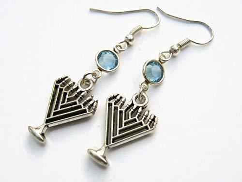 (Menorah Birthstone Earrings, Hanukkah Earrings, Jewish Jewelry, Personalized Israeli Earrings, Judaism)