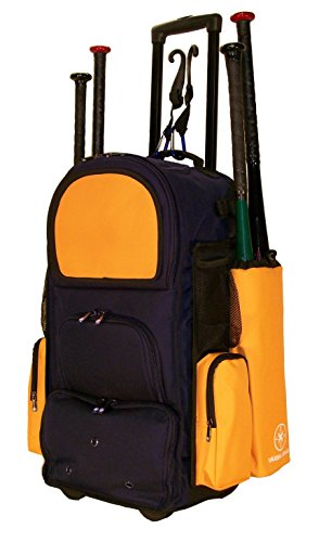 New Design Vista CTR in Navy Blue and Athletic Gold Softball Baseball Bat Equipment Roller Backpack with Innovative Removable Bat Sleeves, Embroidery Patch and Pull out Handle by MAXOPS