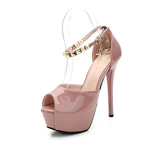 Jqdyl High Heels Wasserdichte Plattform Fisch-Mund Super High Heel Nieten hinten Guuml;rtel Frauen Sandalen Wild  36|Pink