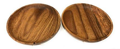 Acacia Wood Latin Style Round Kitchen Plates Set of 4 (Tortilla, Snack, Chip and Dip) 6'D x 1'H by SDSHOMEIMPORTS