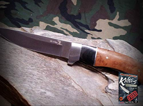 New Elk Ridge 7-inch Fixed Blade Pro Tactical Elite Knife Satin Full Tang Quince Wood Hunting Hunter for Home Camping Hunting Rescue + free Ebook by ProTactical