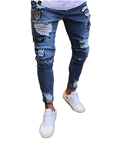FUOE Men's Casual Slim Fit Denim Jeans Ripped Skinny Distressed Destroyed Side Striped Zipper Holes Pants Jeans (28, Blue) ()