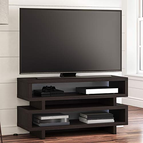 BHG Steele Open TV Stand Cabinet Table Wood in Espresso Flat Panel TVs up to 55
