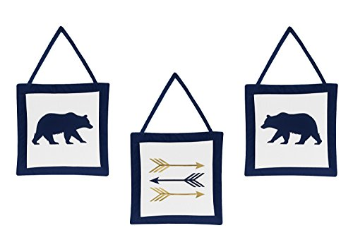 Sweet Jojo Designs 3-Piece Navy Blue, Gold, and White Wall Hanging Decor for Big Bear Collection