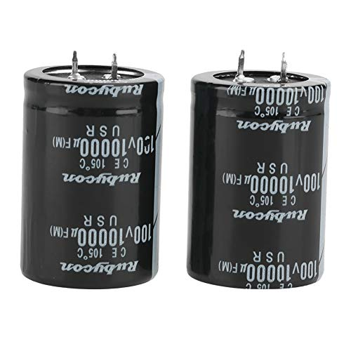 2Pcs 10000uF Electrolytic Capacitor,Acogedor 100V Snap-in Terminal Type Electrolytic CapacitorLow Impedance Large Can Type