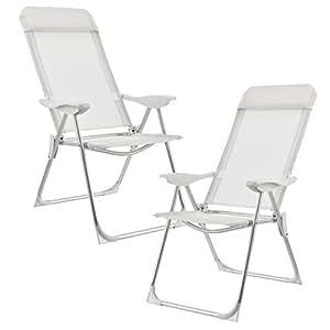 [casa.pro] Set de 2 sillas de Camping Plegables Blancas Marco de Aluminio tapicería de Tela para jardín, balcón, terraza o Playa