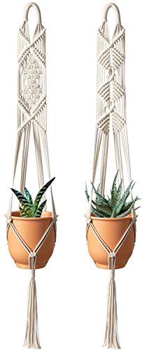 (Mkono Macrame Plant Hanger Hanging Planter Wall Art Boho Home Decor 41 Inches, Set of 2)