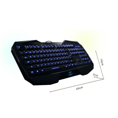 LED Illuminated Ergonomic USB Multimedia Backlight Backlit Gaming Keyboard (New Blue Backlight)