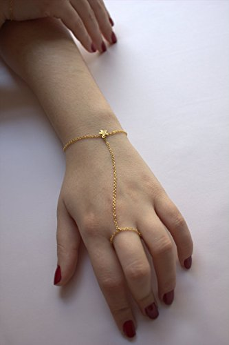 Amazon Com Hand Chain Gold Finger Bracelet With Little Star Chain