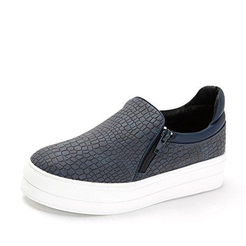Muelle piedra grano zapatos pedal de plataforma/Zapatos ocasionales de las mujeres Azul