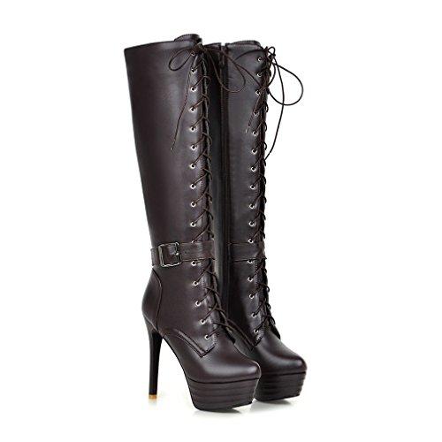 Con Plataforma de Mujers Tac Con Cordones Xianshu Botas Cremallera Zapatos Rodilla B5tqARw