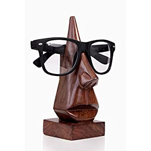 Store Indya Eyeglass Holder Wooden Spectacle Stand Quirky Nose Shaped Handmade Display Glasses Accessories with Free Bookmark