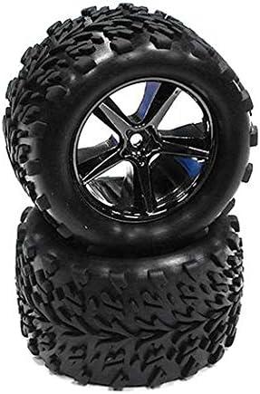 Integy RC Model Hop-ups T3516BLACKCHROME Type IV Wheel and Tire Set (2) for 1/16 E-Revo VXL & Summit VXL (O.D.=81mm)