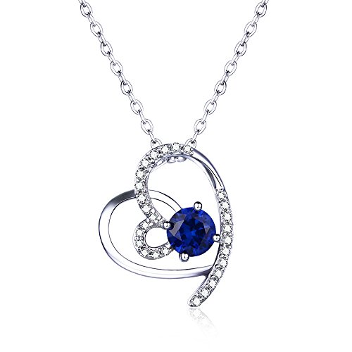 Blue Simulated Sapphire Hanging Double Heart Pendant Sterling Silver Gemstone Birthstone Pendant (Sapphire Hanging)