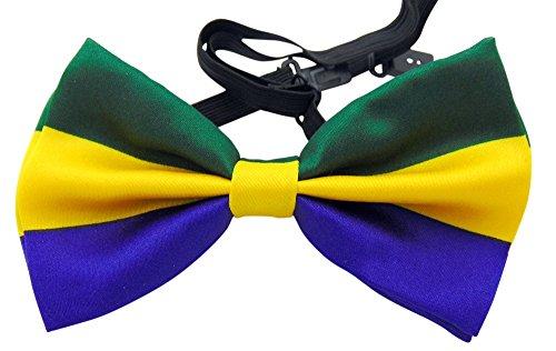 Mardi Gras Bow (Mardi Gras Bowtie Pre-tied Adjustable Bow Tie Formal Tuxedo Bow Tie)