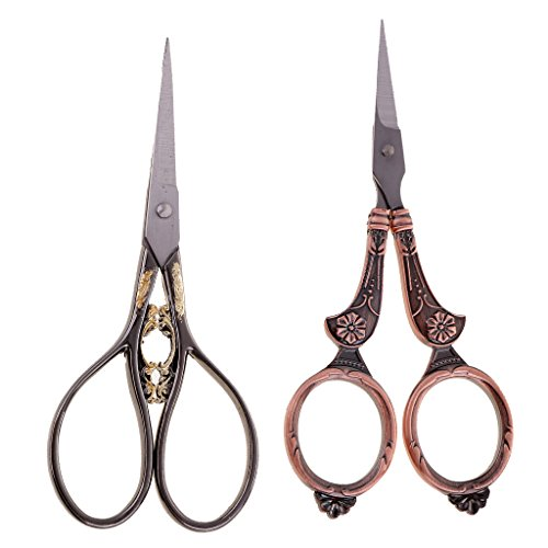 Baosity 2Pcs Embroidery Scissors With Organza Pouch   Golden Handle Vintage European Design   Best for Needlepoint Sewing Quilting and Cross Stitch Designs by Baosity