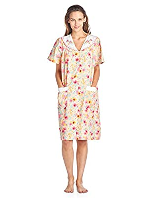 Casual Nights Women's Woven Snap-Front Lounger House Dress