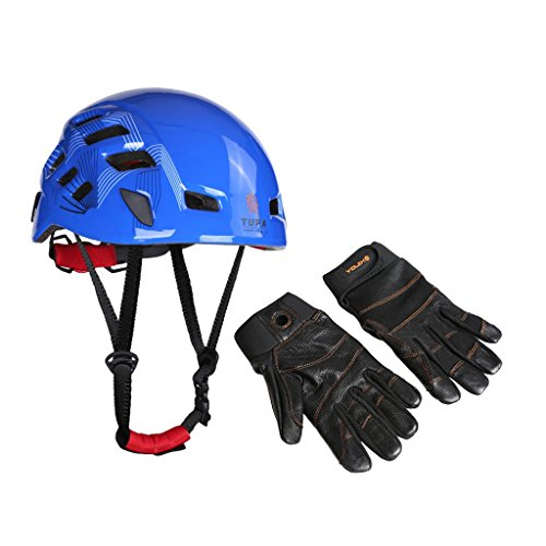 MonkeyJack Arborist Rock Climbing Ventilated Helmet 54-62cm + 1 Pair Leather Full Finger Climbing Gloves Large by MonkeyJack