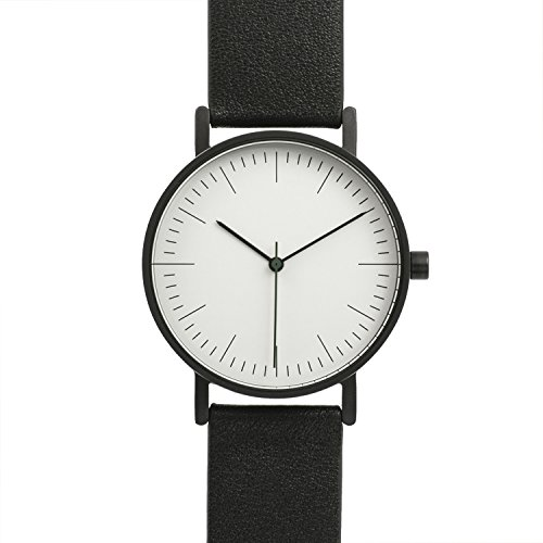 BIJOUONE B001 Black Leather Stainless Steel Swiss Quartz Analog Unisex Watch, Matte Black