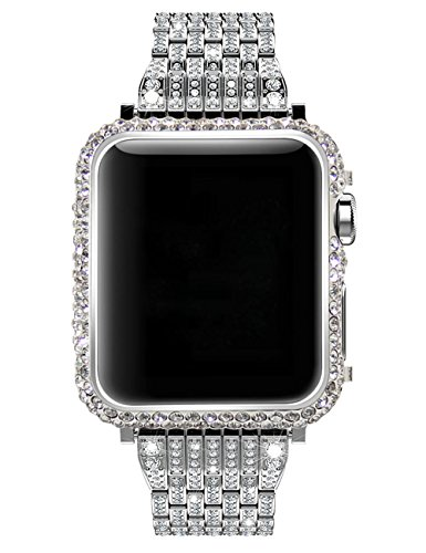 Rhinestone Case Watch (Callancity 42mm Bling Bling Big Rhinestone Diamonds Platinum case Compatible with Apple Watch Series 1 Series 2 Series 3)