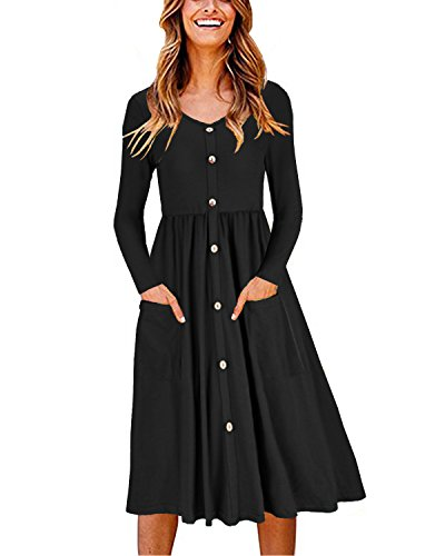 OUGES Women's Long Sleeve V Neck Button Down Midi Skater Dress with Pockets(Black,M)