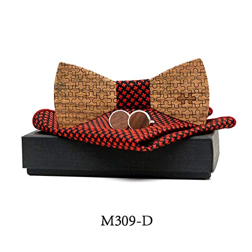 Square Section Bow - Handmade Bow Tie Hollow Section Wooden Front Tie Men and Women Wedding Party Wooden Bow Tie Set,D
