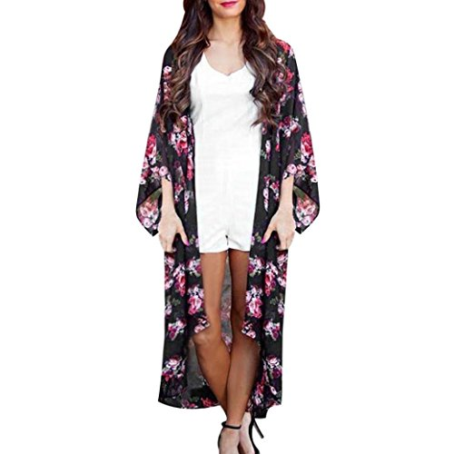 Cardigan,Rosiest Women Summer Floral Open Cape Casual Coat Loose Blouse kimono Jacket Cardigan (S) (Car Doors Frozen Open)