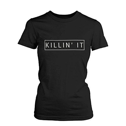 Killin' It Women's Graphic Shirt Trendy Black T-shirt Cute Short Sleeve - It Killin